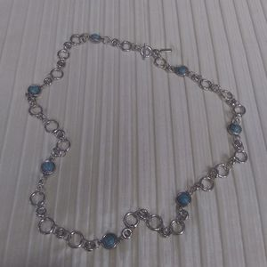 Daisy Fuentes long silver faux turquoise necklace
